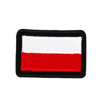 Plakietka flaga Polski Biało-Czerwono z czarną obwódką